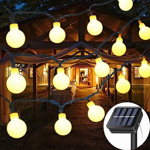 Guirnalda Luces Exterior Solar, GLURIZ 50LED Cadena de Luces bolas led decorativas, Impermeable 8 Modos,…