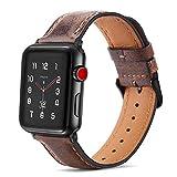 Tasikar コンパチブル Apple Watch バンド 44mm 42mmアップルウォッチ バンド, 高級 本革 交換バンド ビジネス Apple Watch シリーズ6 / 5 / 4 / 3 / 2 / 1 / SE 用 (42mm 44mm, ダークブラウン)