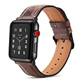 Tasikar per Cinturino Apple Watch 44 mm 42 mm Cinturini di Design in Vera Pelle Compatibile con Apple Watch SE Serie 6 Serie 5 Serie 4 (44mm) Serie 3 Serie 2 Serie 1 (42mm) - Marrone Scuro