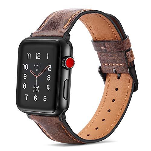Tasikar per Cinturino Apple Watch 44 mm 42 mm Cinturini di Design in Vera Pelle Compatibile con Apple Watch SE Serie 6 Serie 5 Serie 4 (44mm) Serie 3 Serie 2 Serie 1 (42mm) - Marrone Scuro