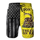 Shuwekk Mens United States of America and Dont Tread On Me Flag Swim Trunks Printed Beach Shorts Quick Dry Summer Boardshorts with Mesh Lining