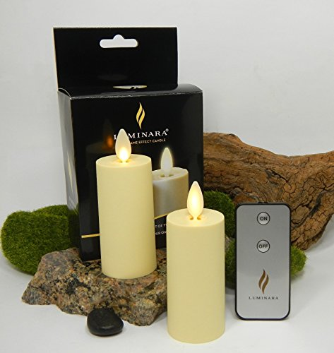 Luminara Flameless Votive Candles Tea Light Battery Operated Genuine - 2PC Set + Remote Control- 3' x 1.75', Ivory, Unscented, Real Flame Effect, Auto-Timer, Wedding