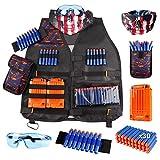 PIGMAMA Kit de Chaleco táctico para niños para Pistolas Nerf Serie N-Strike Elite con Bolsa de Dardos de Recarga, Clip de Recarga, máscara táctica, muñequera y Gafas Protectoras para niños Elegance