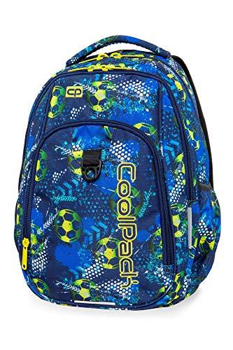 COOLPACK Schulrucksack Kinder-Rucksack Schultasche Strike 27 Liter USB-Port Kabel 44 x 32 x 15 cm Football Blue Mädchen Jungen