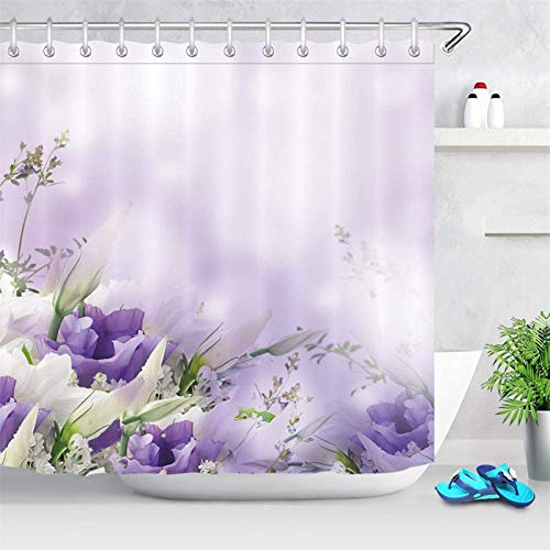 LB Pastel Flower Bouquet Ombre Background Shower Curtain Purple Floral Restroom Bathroom Curtains Hooks Durable Waterproof Fabric Curtain Set, 70 x 70 Inches