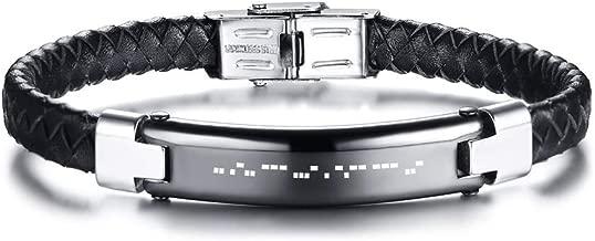 MPRAINBOW Personalized Morse Code Men Bracelet Engrave Bracelet for Boyfriend,Brother,Father,Husband,Godfather,Hidden Message Bracelet