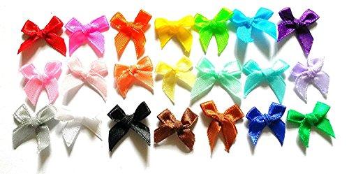100 Pcs - 21 Colors Cute Satin BOW Ribbon Applique Embellishment Decoration - Size 20mm X 25 Mm Assorted Color