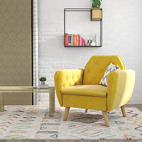 Novogratz Tallulah Memory Foam Arm, Mustard Yellow Velvet Accent Chair,