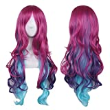 AneShe Cosplay Wigs for Women Hot Pink Mixed Blue Long Wavy Wig Harajuku Style Heat Resistant Hair...