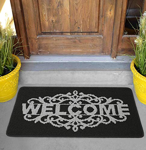 Felpudo de Entrada Alfombra Exterior para Puerta, Impermeable, Lavable para Atrapar Suciedad Alfombras para Puerta de Entrada, Cocina, Piso, hogar y Oficina (Royal Welcome, 17