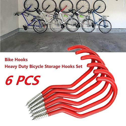 Heavy Duty Hooks Bike Storage Hook Set - MACHSWON 6PCS Schroefhaken Garage Opslag Haak Plafond Light Cup Haken voor Muur gemonteerde Beugels (Rood)