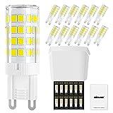 DiCUNO Bombillas LED G9 4W, Equivalentes 40W bomlillas halógenas, Blanco frio 6000K 400LM, AC 220-240V, G9 Cerámica Base, Pack de 12ica Base, Pack De 12