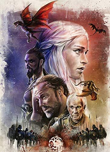 FFXXCC DIY 5D Game of Thrones Digitalgemälde, 3D Malen-nach-Zahlen-Set für Erwachsene, Kindergeschenke, Mosaik-Leinwand, Ölgemälde, Wanddekoration, rahmenlos (40 x 50 cm)
