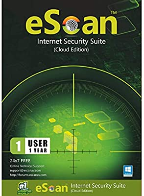 eScan Internet Security Suite with Cloud Security Total Antivirus software for PC Anti Ransomware unlimited protection | 1 Year 1 PC | Max security 2019