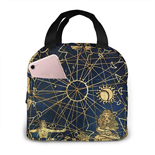 Dag van de Dode Suiker Schedels Unisex Draagbare Herbruikbare Waterdichte Thermische Isolatie Lunch Bag Picknick Bag Winkeltas Koelbox Eén maat Zodiac Symbols and Solar Signs