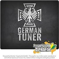 ドイツのチューナー - 鉄十字 German Tuner - Iron Cross 16cm x 10cm 15色 - ネオン+クロム! ステッカービニールオートバイ