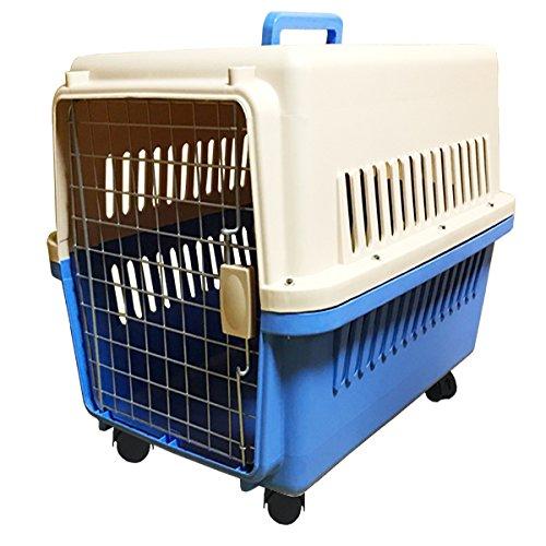 ペットキャリーケース 3Lサイズ 青 大型犬用 ハードタイプ キャスター付き 90×75×62cm