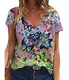 Camisetas de Verano con Estampado de Mariposas para Mujer, Camisetas de Manga Corta con Cuello en V holgadas Informales con Estampado gráfico de Moda