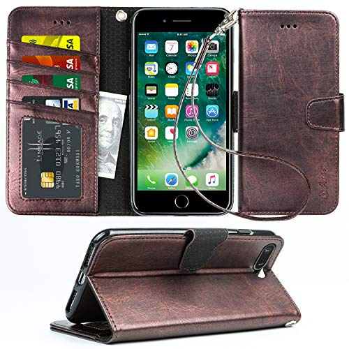 Arae Case for iPhone 7 Plus/iPhone 8 Plus, Premium PU Leather Wallet Case with Kickstand and Flip Cover for iPhone 7 Plus (2016) / iPhone 8 Plus (2017) 5.5 inch - Metallic