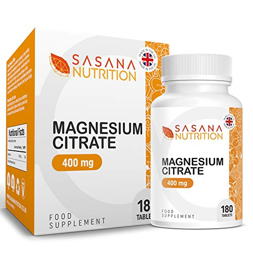 Sasana Nutrition Magnesium Citrate 400mg – 180 Magnesium Citrate Tablets - Magnesium Supplements Manufactured in The UK