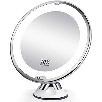 1byone 10倍拡大鏡 LED化粧鏡 浴室鏡 化粧ミラー 卓上鏡 吸盤ロック付きLEDミラー スタンド/壁掛け両用 360度回転 壁掛けメイクミラー 防錆 単四電池
