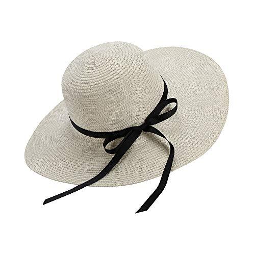 Chapter Seven Sombrero de sol para mujer, plegable, bowknot grande, ala ancha, sombrero de paja de verano, protección UV UPF50