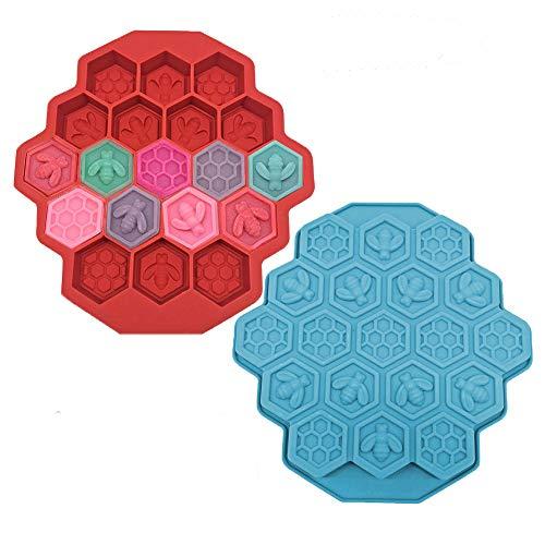 2 moldes de silicona para tartas, 19 cavidades, 19 abejas, jabones, bandeja de hielo para galletas, pasteles, chocolate, caramelos, suministros para hornear para niños (color: aleatorio)