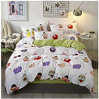 KFZ Bed Set Beddingset Duvet Cover No Comforter Flat Sheet Pillowcases JSD1902 Twin Full Queen King Sheets Set Pig Sesame Street Bulldog Printed for Kids (Sesame Street, Pink, Full 70
