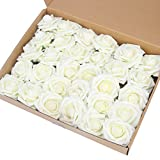 MACTING Artificial Flower Rose, 30pcs Real Touch Fake Roses Foam Flowers for DIY Bouquets Wedding Party Baby Shower Home Decoration (Ivory)