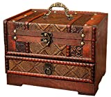 Anberotta コスメ メイクボックス ジュエリーボックス 小物入れ 化粧品 ミラー 鏡付き 木製 アンティーク調 ケース 宝石箱 収納箱 アクセサリー ビンテージ J153 Aタイプ