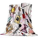 Mantas Para Manta Blanket Tema cosmético y de maquillaje con Perfume Lipstick Brush Soft Mantas 125X100CM