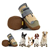 Hcpet Dog Boots Paw Protector, Anti-Slip Waterproof Dog Shoes with Reflective Straps for Small Medium Large Dogs, Puppy Booties 4Pcs