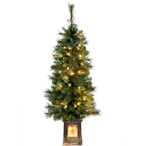 WeRChristmas Pre-Lit Victorian Pine Christmas Tree with 80 Warm White LED Lights, 4 feet/1.2 m - Green