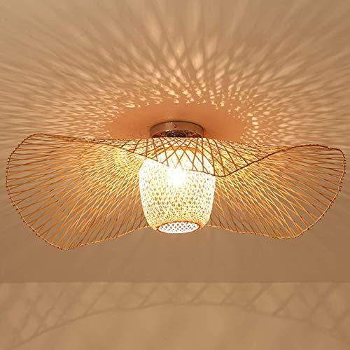 Deckenleuchte Bambus E27 Deckenleuchte Bambus Retro Deckenlampe Kreative Handgewebte Bambus Lampenschirm Hängelampe Beleuchtung Restaurant Schlafzimmer Deckenleuchte Deckenlampe Rattan