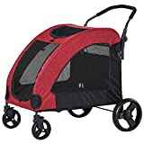 PawHut Pet Stroller Universal Wheel with Storage Basket Ventilated Foldable Oxford Fabric for Medium Size Dogs, Red