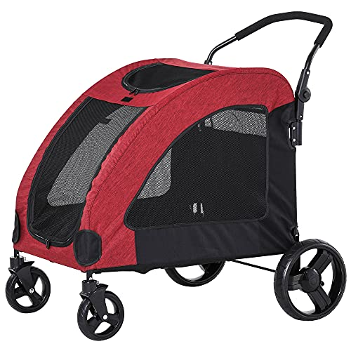 PawHut Pet Stroller Universal Wheel with Storage Basket Ventilated Foldable Oxford Fabric for Medium...