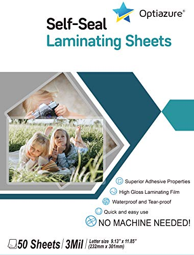 Optiazure Self-Seal Laminating Sheets 9.1'x11.8' Inches, 3mil 50Pack, Letter Size, Single Sided