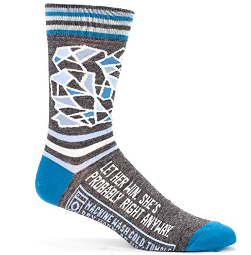 Let Her Win. She's Probably Right Anyway - Soft Combed Cotton Socks - Men's Crew