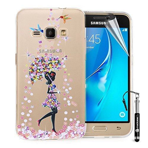 madCase Samsung Galaxy J1 hoesje ultradun transparant transparante zachte gel TPU siliconen cover met schattige diamante kristallen Bling ontwerp (Birds & paraplu)