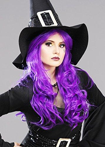 Womens luxe Halloween perruque de sorcière violet Long