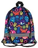 Aminata Kids - Kinder-Turnbeutel für Junge-n und Mädchen mit Unterwasser-Welt süße Wal-e Fisch-e Sport-Tasche-n Gym-Bag Sport-Beutel-Tasche bunt blau