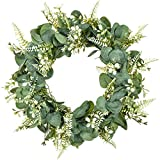 "Lvydec 17"" Artificial Eucalyptus Wreath with Fern Leaves for Front Door Home Farmhouse Decoration"