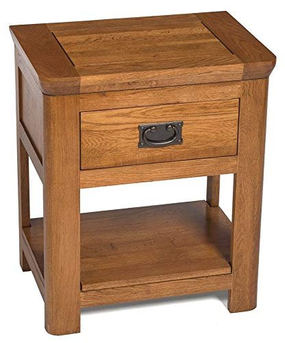 ADHW Solid Oak Side Table | Wooden End/Lamp Table | Bedside Cabinet | Nightstand