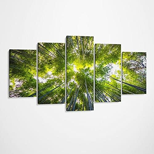 5 Piezas Cuadro sobre Lienzo Imagen Bamboo Trees Forest Woods Naturaleza Impresión Pinturas Murales Decor Dibujo con Marco Oficina Aniversario Regalo Carteles Listo para Colgar 150 * 80cm