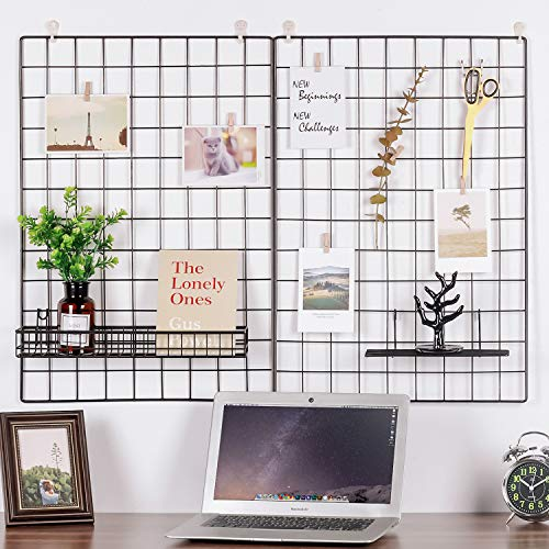 Kaforise Wire Wall Grid Panel, Multifunction Painted Photo Hanging Display and Wall Storage Organizer, Pack of 2, Size 25.6x17.7inch, Black