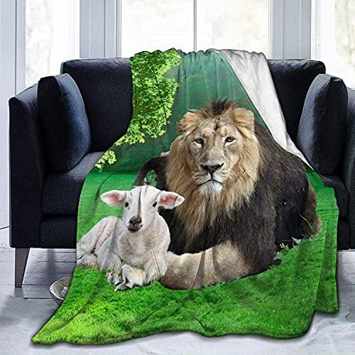 Manta de león con cordero hermosa manta ultra suave de micro forro polar súper suave manta de cama para sofá, sala de estar, playa, picnic, otoño, primavera, invierno, utilidad