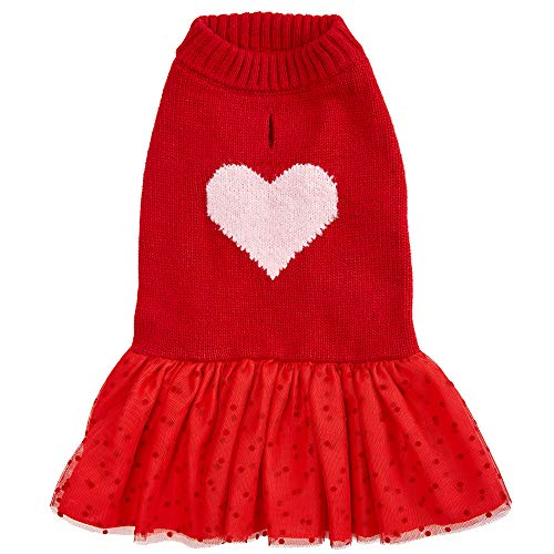 Blueberry Pet My Cutie Princess Heart Dog Sweater Dress, Red, Back Length 16', Fall Winter Clothes for Girl Dogs