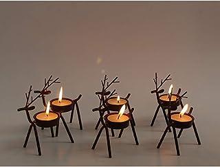 WOERTE HOME Set of 6 Bronze Iron Reindeer Tealight Candle Holder Christmas Decorations