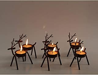 Set of 6 Bronze Iron Reindeer Tealight Candle Holder Christmas Decorations