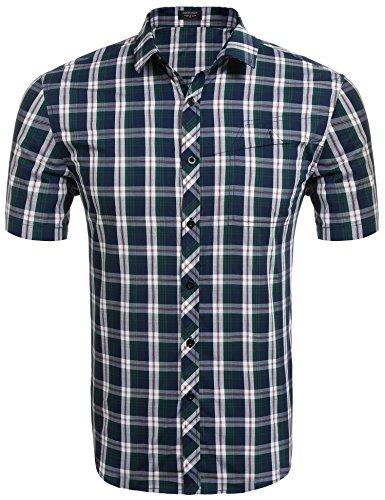 COOFANDY Koszula męska z krótkim rękawem, koszula w kratkę z bawełny, kołnierz kent, krój slim fit, koszula w kratkę, odpowiednia na Oktoberfest